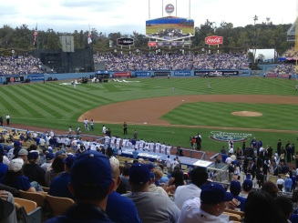 The Dodger's Starting Line-up waiting in the dugout