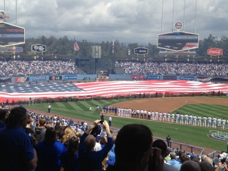 The Star Spangled Banner......and a GORGEOUS display honoring the servicemen and woman fighting for our country