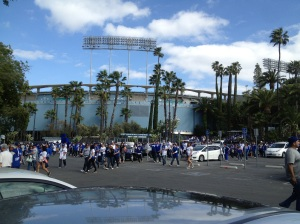 Walking into Dodger Stadium!!! Only in LA do we have Palm Trees in the parking lot of our Baseball Stadium!