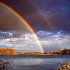 rainbow on water